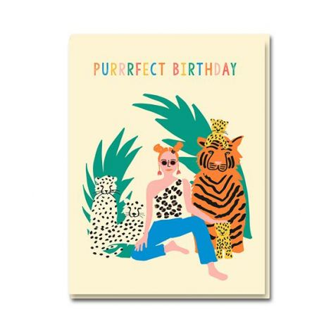TIGER QUEEN BIRTHDAY GREETING CARD, BY EMMA COOTER DRAWS