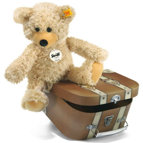 CHARLY DANGLING TEDDY BEAR PLUSH IN SUITCASE, BEIGE (28CM)