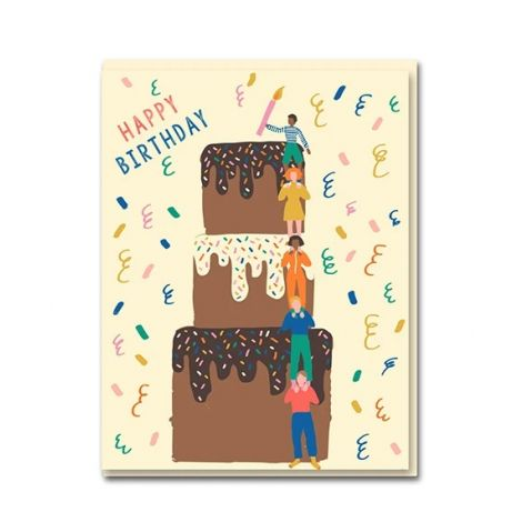 CAKE TOWER BIRTHDAY GREETING CARD, BY EMMA COOTER
