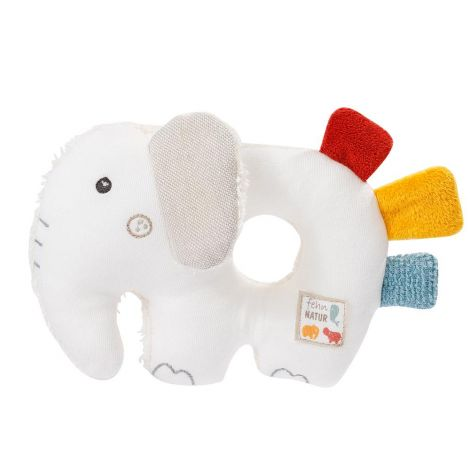 FEHNATUR: ELEPHANT ORGANIC COTTON MULTI-SENSORY PLUSH RATTLE