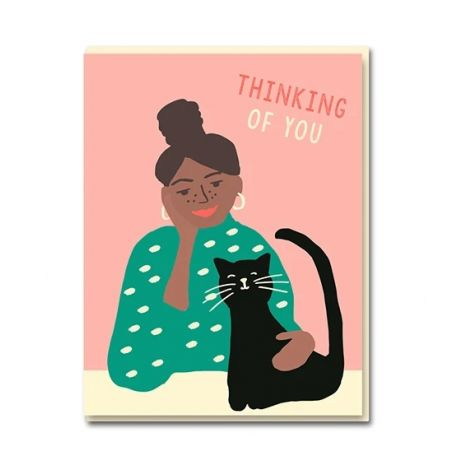 CAT GIRL GREETING CARD, BY EMMA COOTER DRAWS