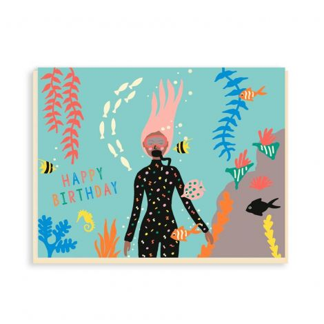 DIVER BIRTHDAY GREETING CARD, BY EMMA COOTER DRAWS