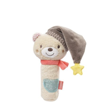 BRUNO BEAR FABRIC SQUEAKER RATTLE STICK
