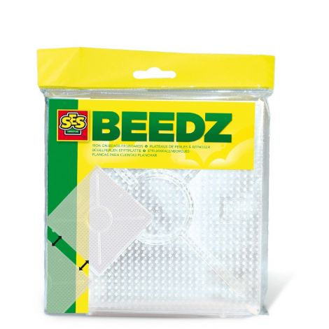 IRON-ON BEADS TRANSPARENT SQUARE PEG BOARDS, SET OF 2
