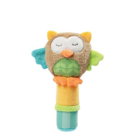 SLEEPING FOREST OWL FABRIC SQUEAKER RATTLE STICK