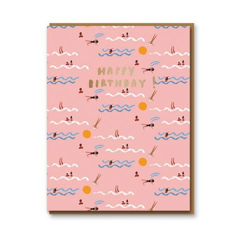 PINK SWIMMERS BIRTHDAY GREETING CARD, BY CAROLYN SUZUKI