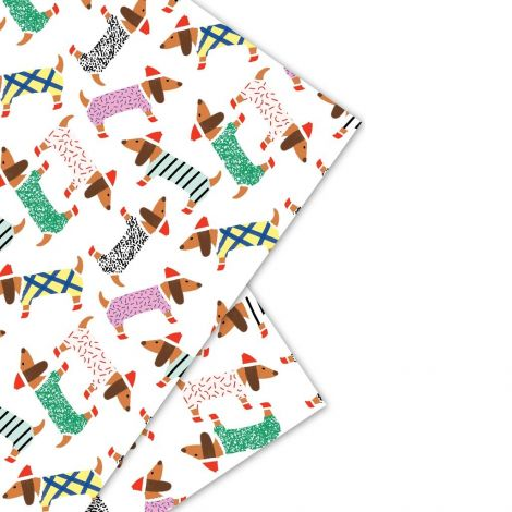 SAUSAGE DOGGIES GIFTWRAP, BY CAROLYN SUZUKI