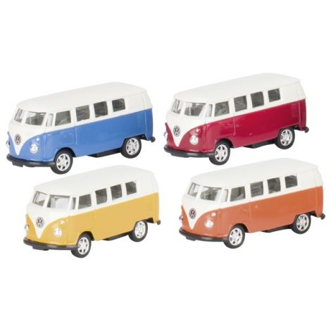 DIECAST PULL-BACK: VOLKSWAGEN 1962 CLASSIC MICROBUS (1:60), SET OF 4