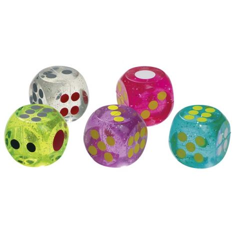 BOUNCING RUBBER DICE, SET OF 5