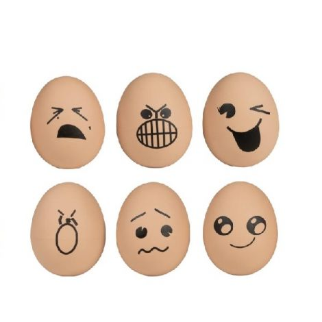 BOUNCING RUBBER EGG FACES, SET OF 6