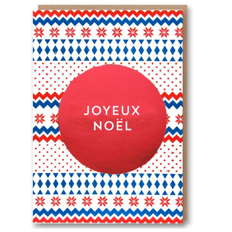 LETTERPRESS COLLECTION: RED ARCTIC CIRCLE - JOYEUX NOEL HOLIDAY GREETING CARD, BY 1973