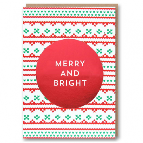 LETTERPRESS COLLECTION: GREEN ARCTIC CIRCLE - MERRY & BRIGHT HOLIDAY GREETING CARD, BY 1973