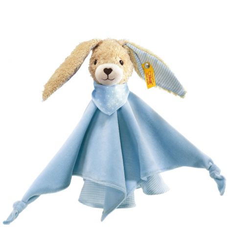HOPPEL RABBIT ORGANIC COTTON SECURITY BLANKET, BLUE