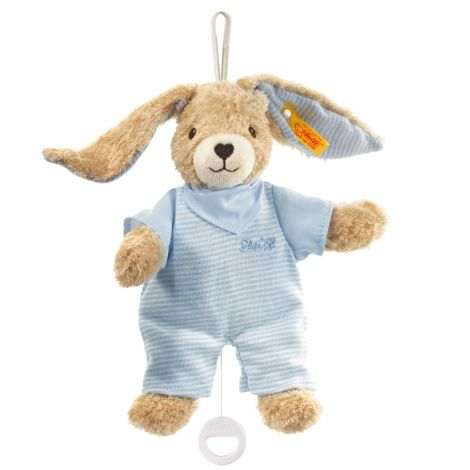 HOPPEL RABBIT ORGANIC COTTON MUSICAL PLUSH, BLUE