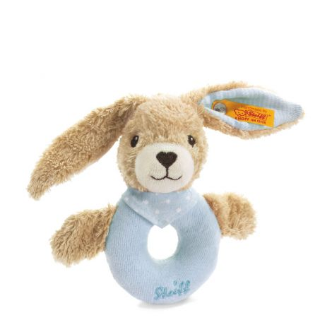 HOPPEL RABBIT ORGANIC COTTON PLUSH RATTLE, BLUE