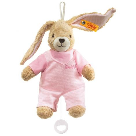 HOPPEL RABBIT ORGANIC COTTON MUSICAL PLUSH, PINK