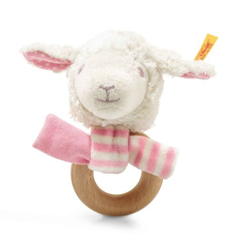 LIENA LAMB ORGANIC COTTON PLUSH + WOODEN RATTLE, PINK