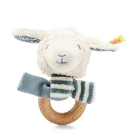 LENO LAMB ORGANIC COTTON PLUSH + WOODEN RATTLE, BLUE