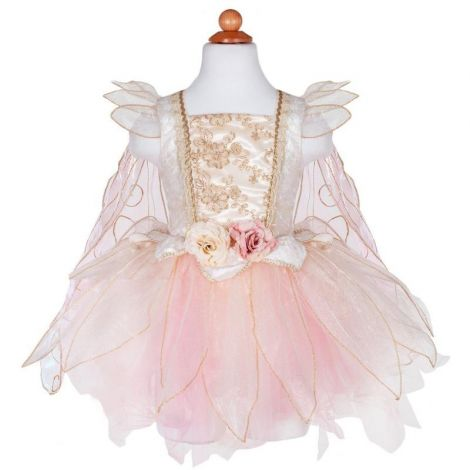 GOLDEN ROSE FAIRY DRESS PLAY COSTUME (SIZE 5/6)