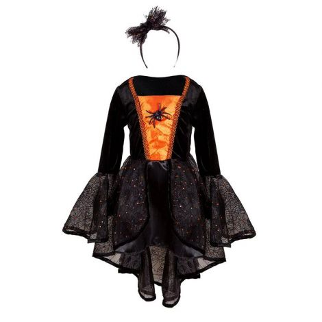 SYBIL THE SPIDER WITCH DRESS + HEADBAND PLAY COSTUME SET (SIZE 3/4)