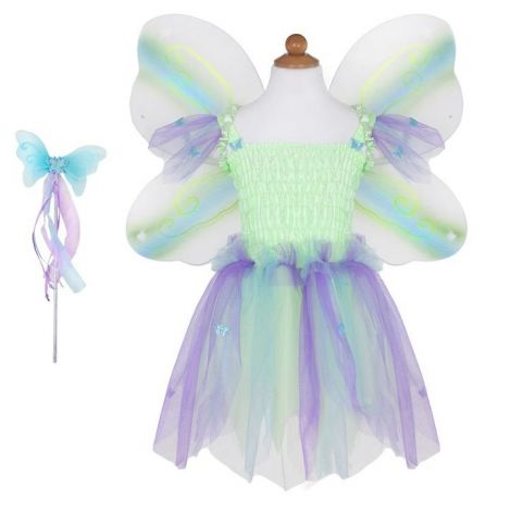 BUTTERFLY DRESS + WINGS + WAND PLAY COSTUME SET, MULTI-COLOURED (SIZE 5/6)