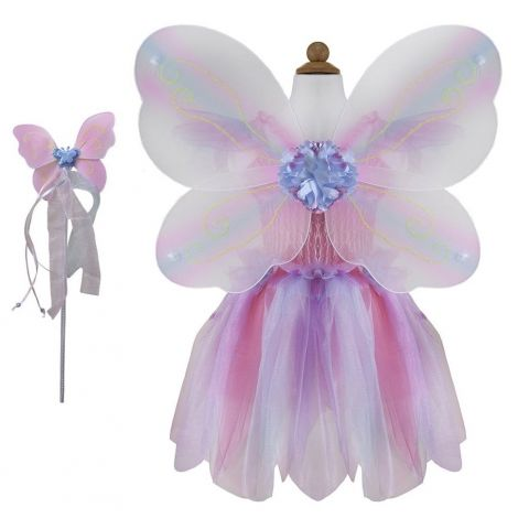 BUTTERFLY DRESS + WINGS + WAND PLAY COSTUME SET, PINK (SIZE 5/6)