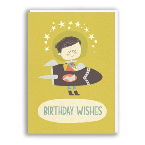 BIRTHDAY ROCKET BOY GREETING CARD, BY PAPER & CLOTH