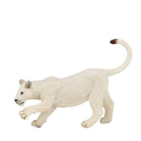 WHITE YOUNG LIONESS FIGURINE