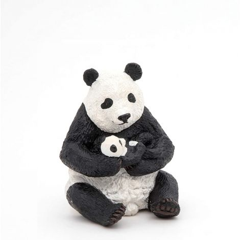 SITTING PANDA AND BABY FIGURINE