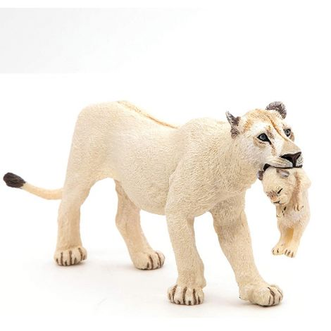 WHITE LIONESS WITH CUB FIGURINE