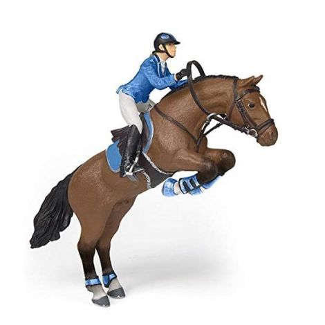 JUMPING HORSE WITH RIDING GIRL FIGURINE