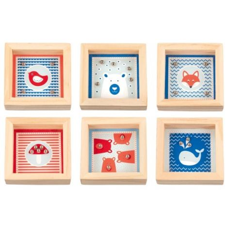 MINI WOODEN SQUARE PATIENCE PUZZLES, SET OF 6: LINES, DOTS & SQUIGGLES