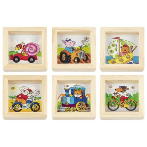 MINI WOODEN SQUARE PATIENCE PUZZLES, SET OF 6: ANIMALS ON VEHICLES