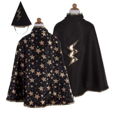 REVERSIBLE WIZARD CAPE + HAT PLAY COSTUME SET (SIZE 5/6)