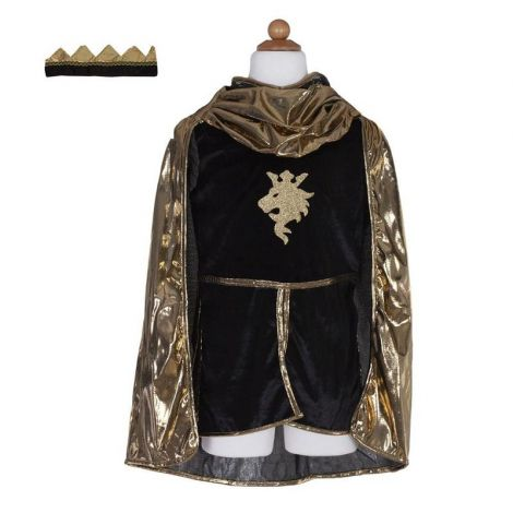 KNIGHT'S TUNIC + CAPE + CROWN PLAY COSTUME SET, GOLD (SIZE 5/6)
