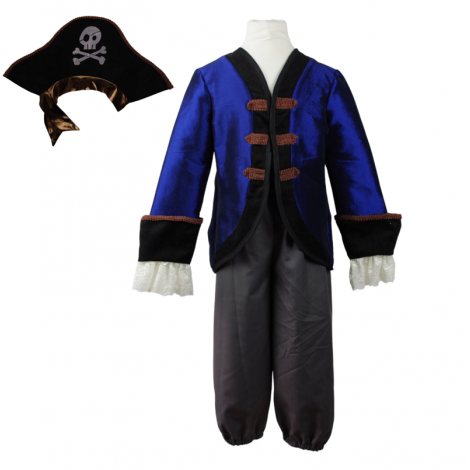 COMMODORE PIRATE JACKET + PANTS + HAT PLAY COSTUME SET (SIZE 5/6)