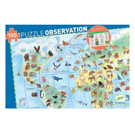 OBSERVATION JIGSAW PUZZLE: WORLD ANIMALS (100PC)