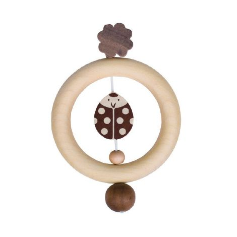 NATURE: LADYBIRD WOODEN RING RATTLE