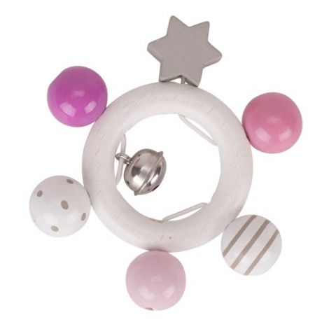 PINK PASTELS WOODEN RING RATTLE