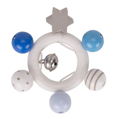BLUE PASTELS WOODEN RING RATTLE