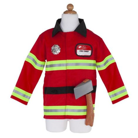 FIREFIGHTER JACKET + HAT + ACCESSORIES PLAY COSTUME SET (SIZE 5/6)