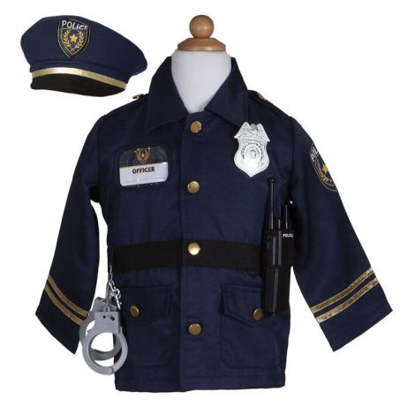 POLICE OFFICER JACKET + HAT + ACCESSORIES PLAY COSTUME SET (SIZE 5/6)