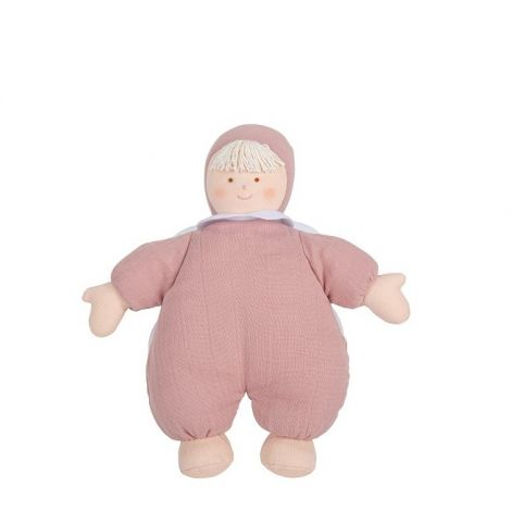 ORGANIC COTTON ANGEL DOLL PLUSH WITH RATTLE, DUSTY PINK (20CM)