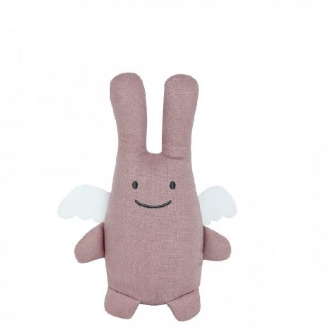 ORGANIC LINEN ANGEL BUNNY PLUSH WITH RATTLE, DUSTY PINK (20CM)