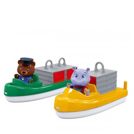 AQUAPLAY CONTAINER + TRANSPORT BOATS WITH BO THE BEAR & WILMA THE HIPPO