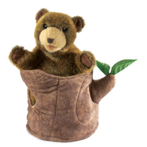 BEAR-IN-TREE-STUMP POP-UP HAND PUPPET
