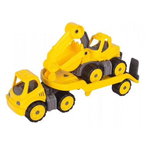 MINI SAND EXCAVATOR + LORRY TRANSPORTER SET