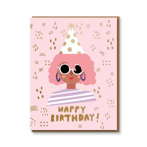 PARTY GIRL BIRTHDAY GREETING CARD, BY CAROLYN SUZUKI