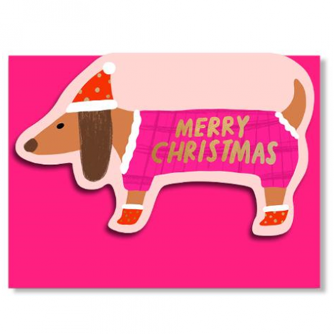 SAUSAGE DOGGIE DIE-CUT HOLIDAY GREETING CARD, BY CAROLYN SUZUKI