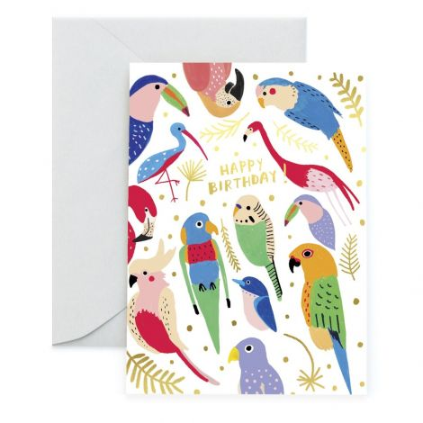 TROPICAL FEATHERS GREETING CARD, BY CAROLYN SUZUKI